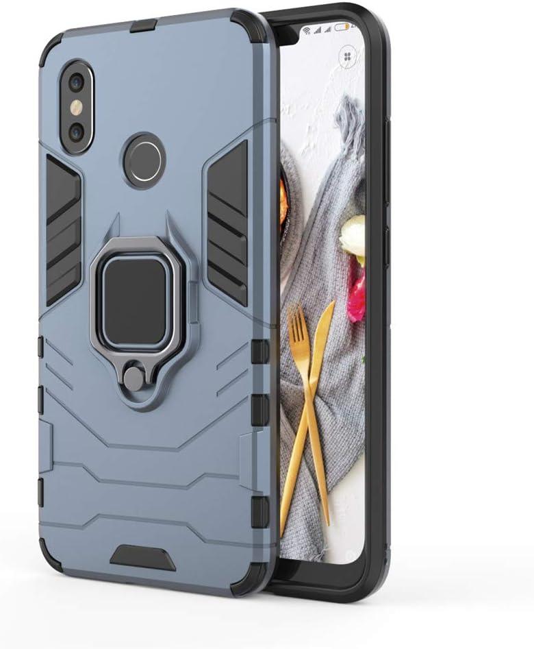 Xiaomi Mi 8 Funda, MHHQ 2in1 Armadura Combinación A Prueba de Choques Heavy Duty Escudo Cáscara PC + TPU con Soporte Magnetic Car Mount Case Cover para Xiaomi Mi 8 -Black Plus Gray
