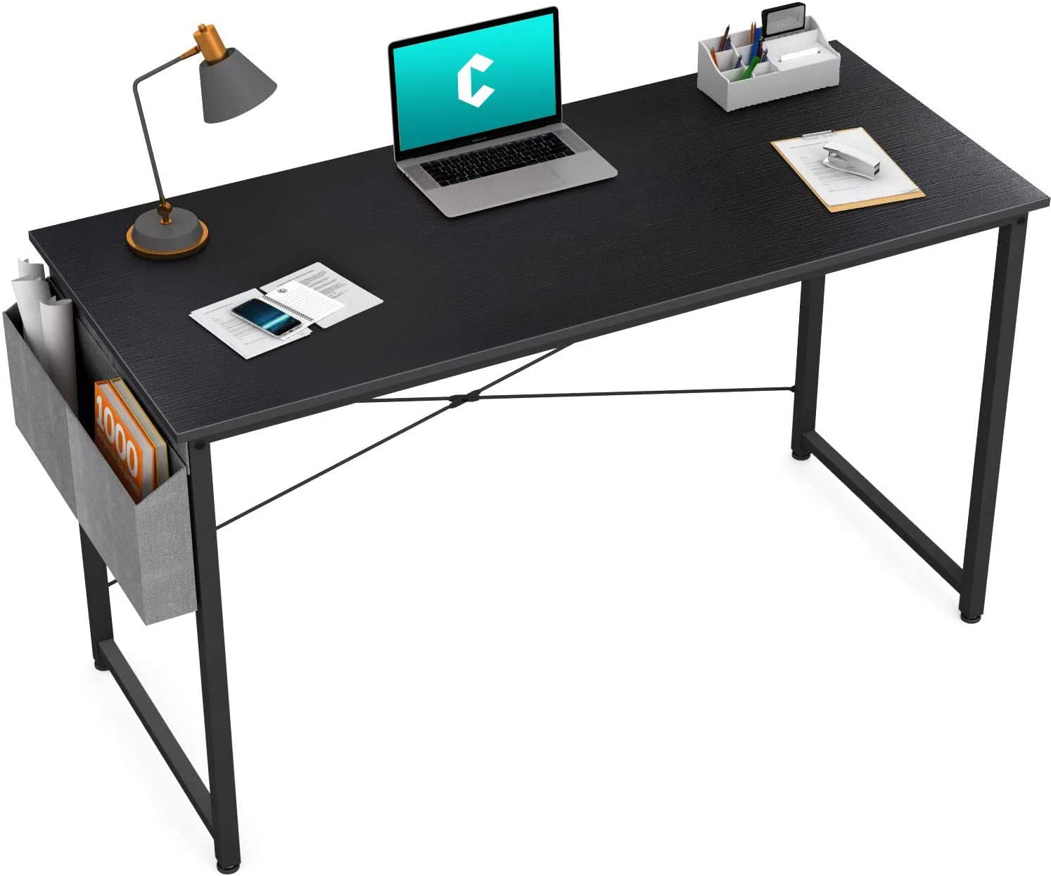 """Cubiker Computer Desk 32"""" Home Office Writing Study Desk, Modern Simple Style Laptop Table with Storage Bag, Black"""