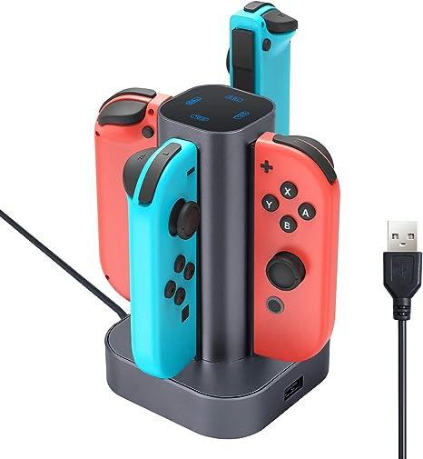 Cargador para Nintendo Switch Con 2 Grips para Mando Cargador para Joy-con Cargador Dock de Carga Portatil Accesorios para 4 Joy-cons: Amazon.es: Videojuegos