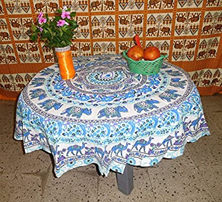 Mandala Elefante mesa de jardín de 4 funda para mesa redonda, para mesa de comedor (redonda, funda para mesa redonda 50 Inch, Mandala Hippie Tapestry, 100% Pure ...