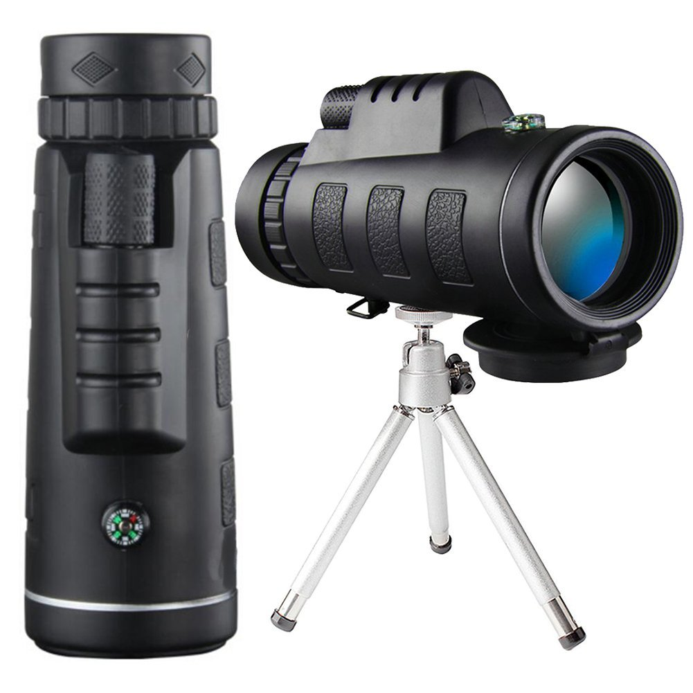 High Power Monocular Telescope Scope with Phone Clip and Tripod for iPhone Smartphone Adults Bird Watching