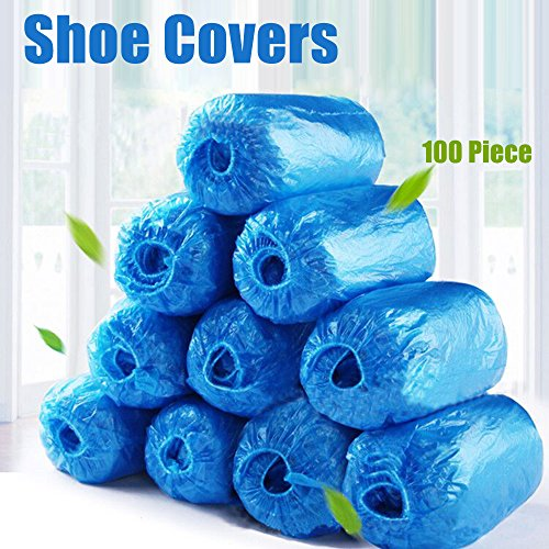 [RYS Disposable Shoe Covers non slip 100 Piece, Blue] (Guy Dance Costumes)