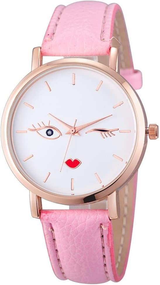 Relojes Pulsera Mujer, Xinan Cuero Analógico de Acero Inoxidable Reloj de Pulsera de Cuarzo (Rosa Caliente)