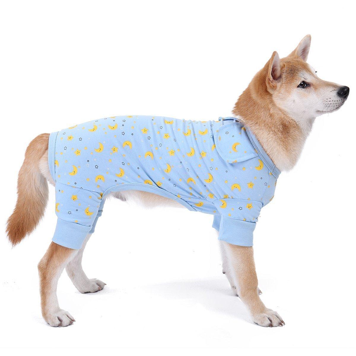 bluee L(Back 13.8\ bluee L(Back 13.8\ Speedy Pet Dog Cat Jumpsuit Pajamas, Adorable Shirt Sleepwear Dog Clothes Soft Pet Pajamas Puppy Apparel (L(Back 13.8 ,Neck 8.7 ,Chest 13.4 ), bluee)
