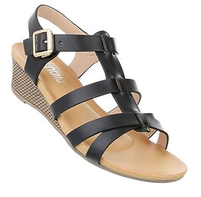 Schuhcity24 Damen Sandaletten Keilabsatz  Klassische Wedges Keilsandaletten  Leder-Optik Slingbacks Sandale...