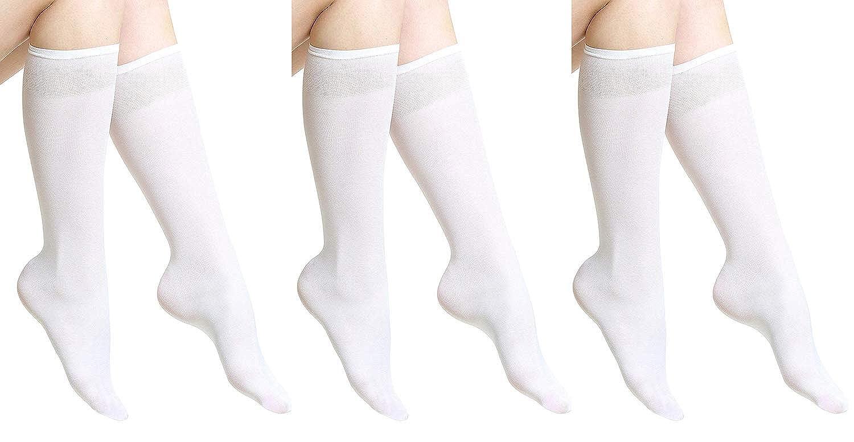 Aurellie women microfiber opaque knee high socks 3 PACK