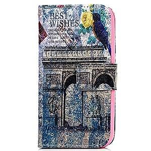 BestCool Funda Cuero PU para Samsung Galaxy J1 Carcasa Case Flip Tipo Libro con Ranura de Tarjeta - Patrón Arco Triunfal Diseño (Retro)
