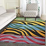 Zebra Print Non Slip Rugs Colorful Zebra Print on Hardwood Timber Creative Contemporary Art Print Door Mats for inside Non Slip Backing 3'x4' Green Yellow Black