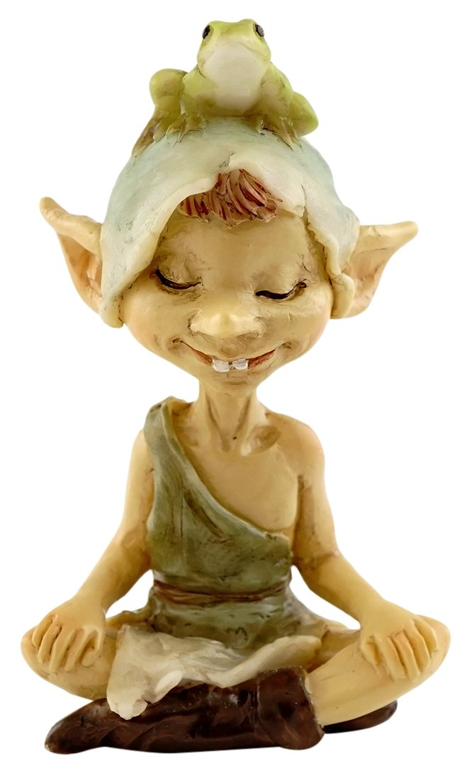 Top Collection Miniature Fairy Garden and Terrarium Pixie Meditating with Frog Figurine