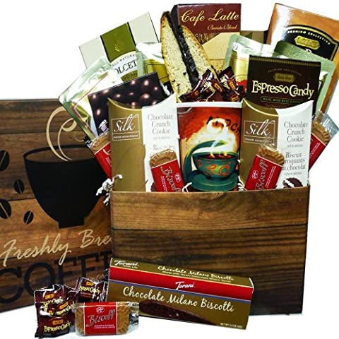 Coffee Lovers Care Package Snacks and Treats Gift Box Set with Mug - Chocolate Chip Boxed