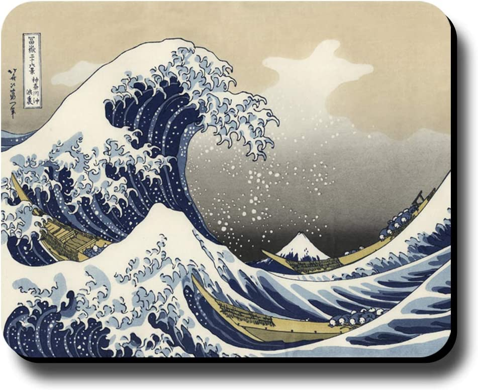 Computer Mouse Pad Art Print Painting Hokusai The Great Wave 9.25 x 7.75 x 1//4 in Thick Non Slip Backing