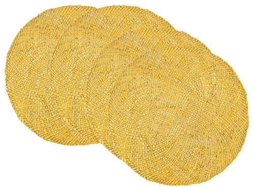 Now Designs Woven Round Maize Placemats, Set of Four, Cornsilk Yellow -  - placemats, kitchen-dining-room-table-linens, kitchen-dining-room - 61qT6kc77GL -