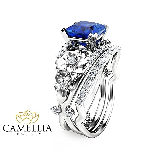 Amazon Princess Cut Blue Sapphire Engagement Ring Set in 14K