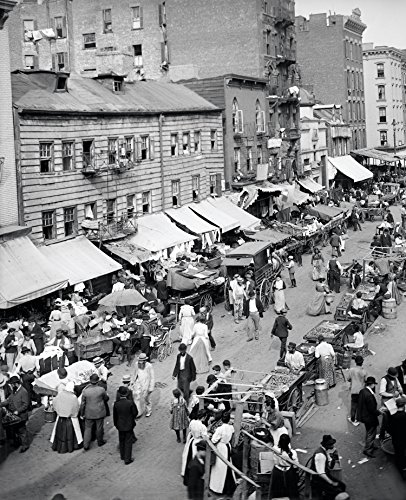 Jewish Market East Side New York City Early Rare Reproduction Vintage and Antique Art or Artwork Collection of Old Photos of Cities Like New York or New York City, Boston, Atlantic City, Chicago, Los Angeles, and Other Us Cities.some Colorized, Black and White, Photochromes Rare Pictures of Cities and Towns Across the Us a Old Time Photos to Digital Close to Original Size 8.5 Inches By 11 Inches for Scrap Booking Home Decor or Kitchen Decor. Or Gift Giving and History Research