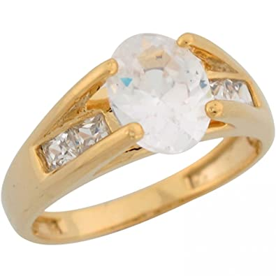 10k Yellow Gold White CZ Ladies Fancy Engagement Thick Band Wedding ...