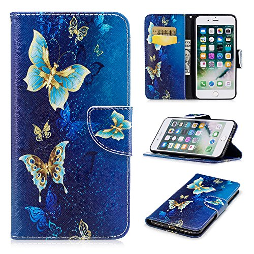 iPhone 8 Plus Case, iPhone 7 Plus Wallet Case PU Leather Folio Kickstand Colorful Painting Golden Butterfly Cover Slim-Fit Shockproof TPU Inner Bumper with Card Slots for iPhone 8 Plus, iPhone 7 Plus (Pu Design Slim Leather)