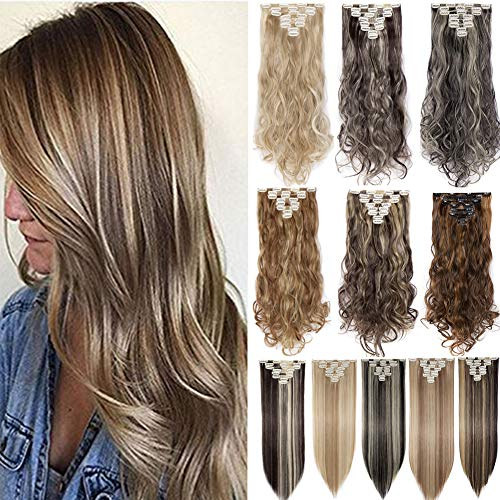 Clip in Hair Extensions 8 PCS 18 Clips 145G Thick Straight Curly Full Head Real Natural Synthetic Fibre Hairpiece 60 colors for Women Lady Girls(26 inch,dark brown & sandy brown-straight)
