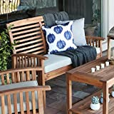 Walker Edison Furniture Company Boardwalk 48 in. Brown Acacia Wood Outdoor Loveseat Bench with White Cushions