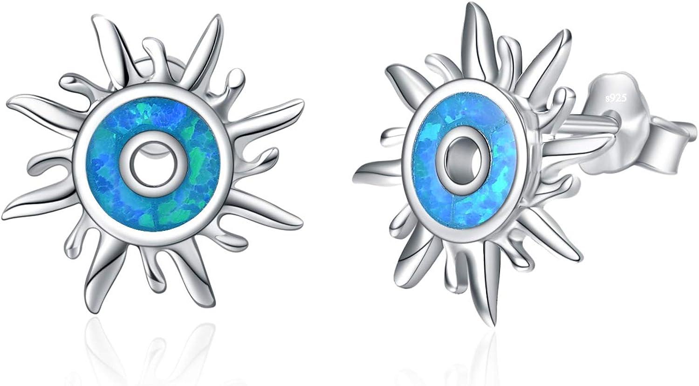 YAFEINI 925 Sterling Silver Sun Stud Earrings Blue Created Opal Earring for Women Men
