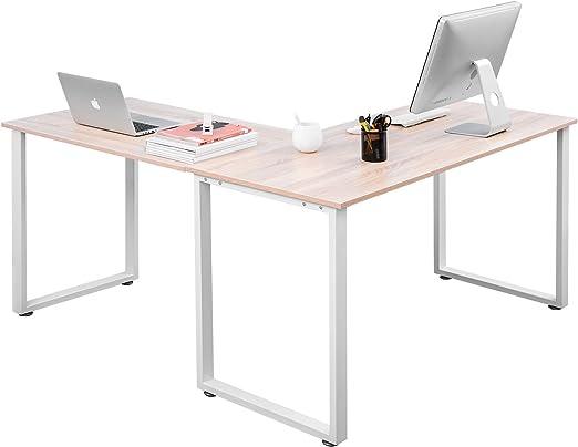 Escritorio de oficina con patas de metal en forma de L, escritorio esquinero para ordenador, portátil, escritorio, mesa de trabajo, superficie de roble: Amazon.es: Hogar