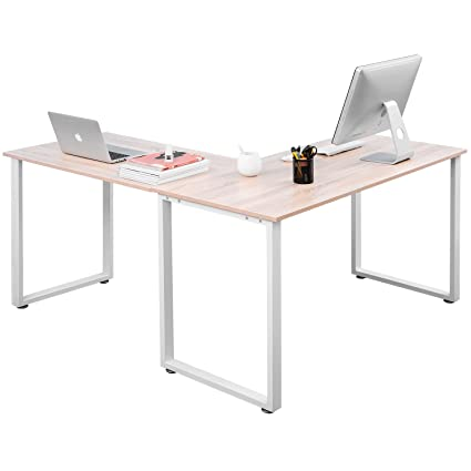 amazon com merax 59 inch l shaped desk with metal legs office desk rh amazon com metal l shaped desk frame metal l shaped office desks