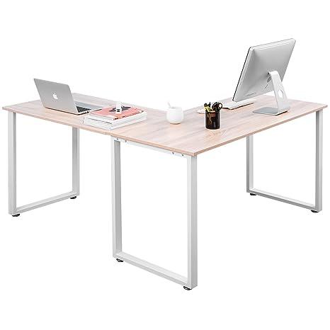 Amazon.com: Mesa de escritorio esquinera en forma de L, mesa ...