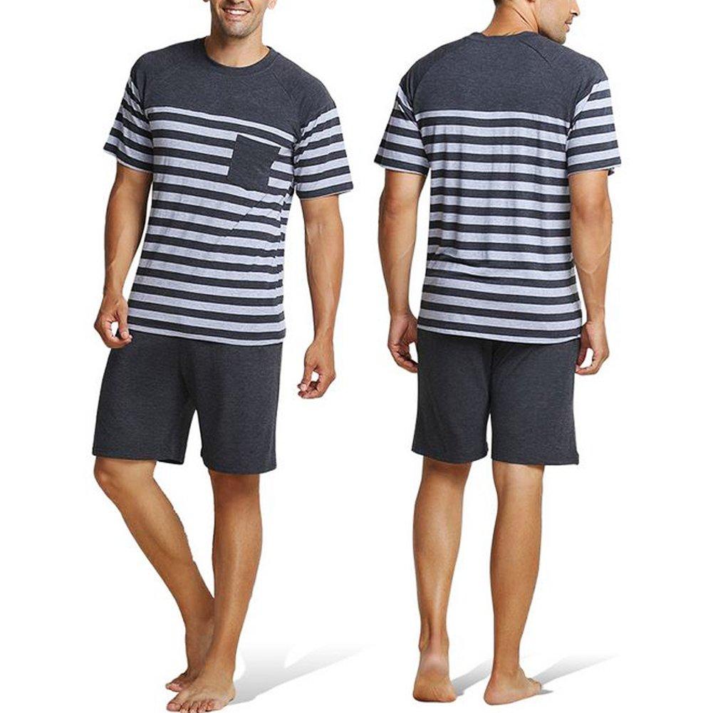 Merryshop Mens Sleepwear Striped Pajama Short Sets Sleepwear Shorts and Top Set for Summer