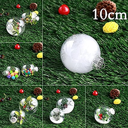 Prettyia Pack of 12 Round Clear Plastic Round Ball Christmas Ornaments 3 inch//8cm