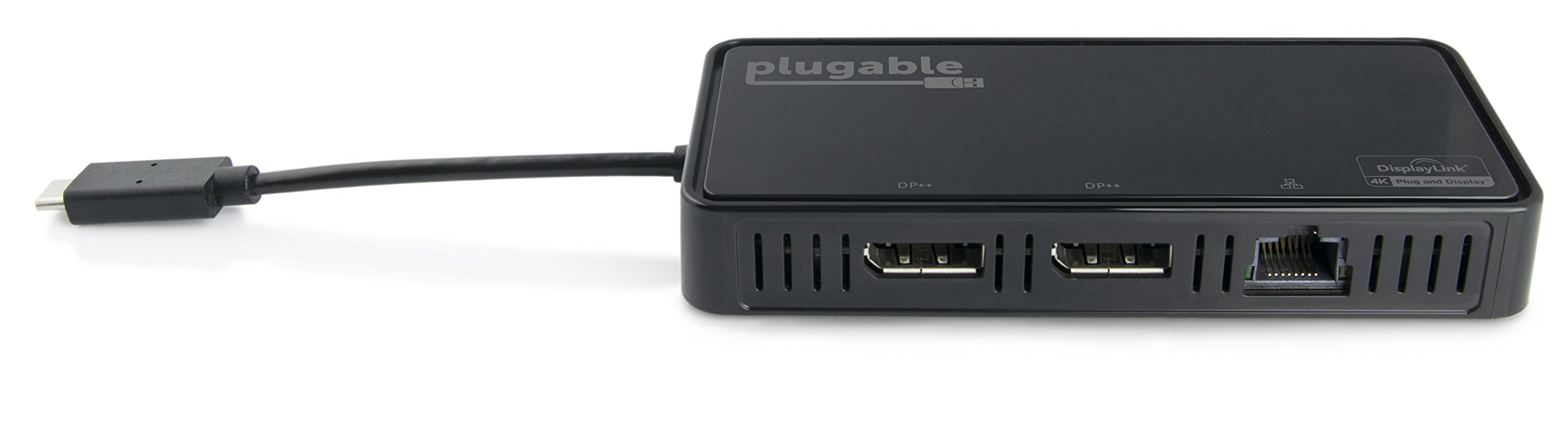 Plugable USB-C Dual 4K DisplayPort Adapter with Gigabit Ethernet for Windows (Supports Two DisplayPort Displays up to 3840x2160@60Hz, Thunderbolt 3 Port Compatible, Windows 10, 8.1 & 7)