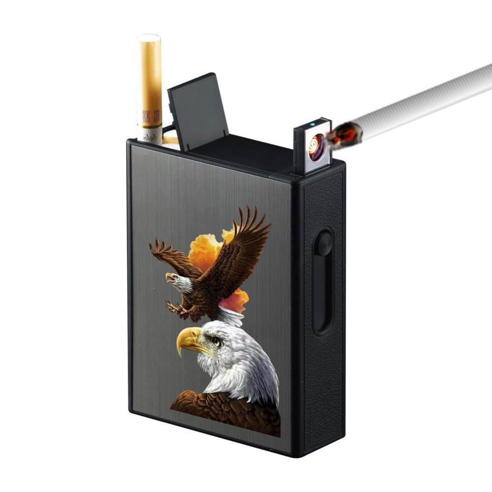 Cigarette Case with Lighters Full Pack 20pcs Regular Cigarettes Box Rechargeable Windproof Flameless Electric Protable Lighter (Eagle)