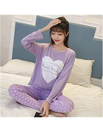 HAOLIEQUAN Womens Pajamas Sets Summer Round Neck Cartoon Kawaii Cartoon  Sleepwear Nighty Female Casual Autumn Winter 551fdef9d