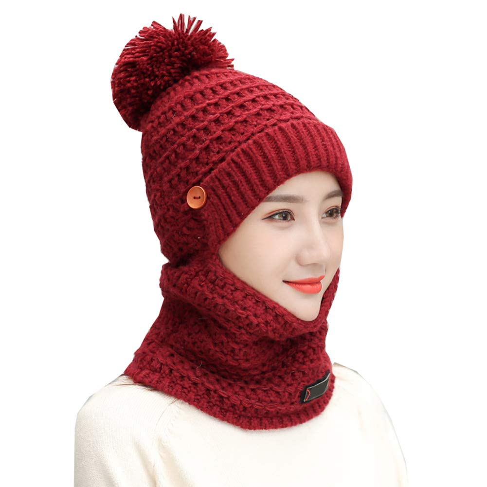 Women Winter Warm Knit Hat Earflap Mask Scarf 3 in 1 Set