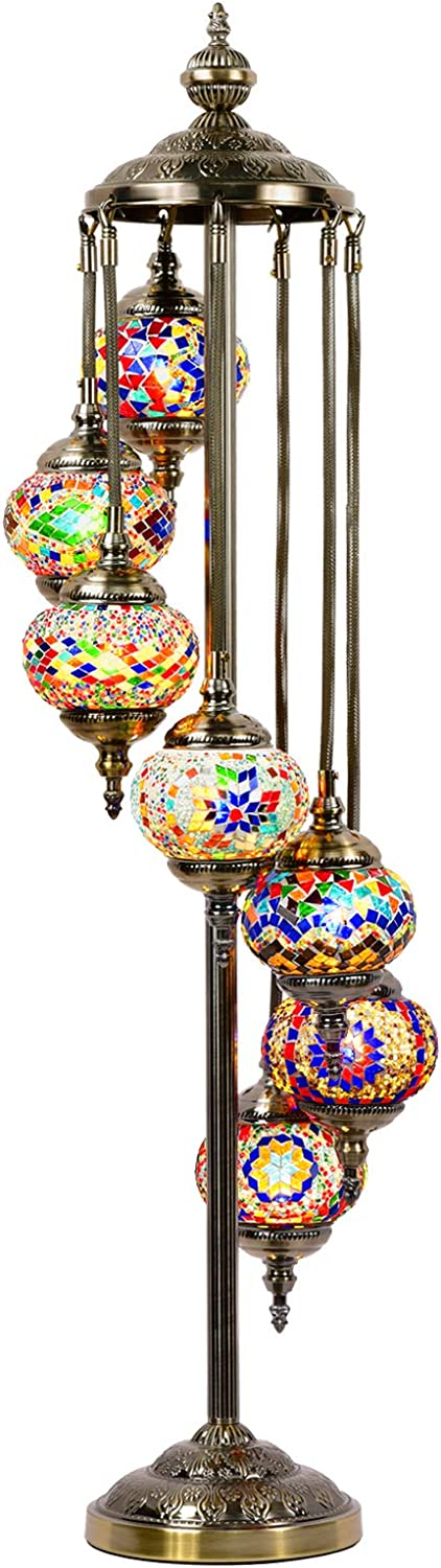 Mosaic Floor Lamp Marrakech Handmade Turkish 7 Globes Mosaic Glass Floor Lamp Moroccan Tiffany Style Lamp Decorative Night Light for Living Room Bedroom Multi-Colored