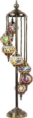 Mosaic Floor Lamp Marrakech Handmade Turkish 7 Globes Mosaic Glass Floor Lamp Moroccan Tiffany Style Lamp Decorative Night Light