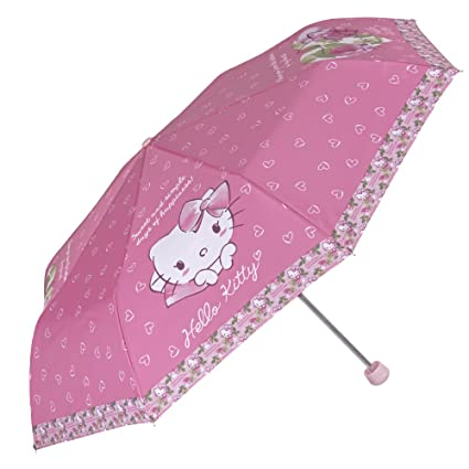 Perletti - Paraguas Hello Kitty para niña - Plegable y antiviento - Manual: Amazon.es: Equipaje