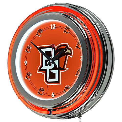Trademark Gameroom Bowling Green State University Chrome Neon Clock (Bowling Quartz Clock)