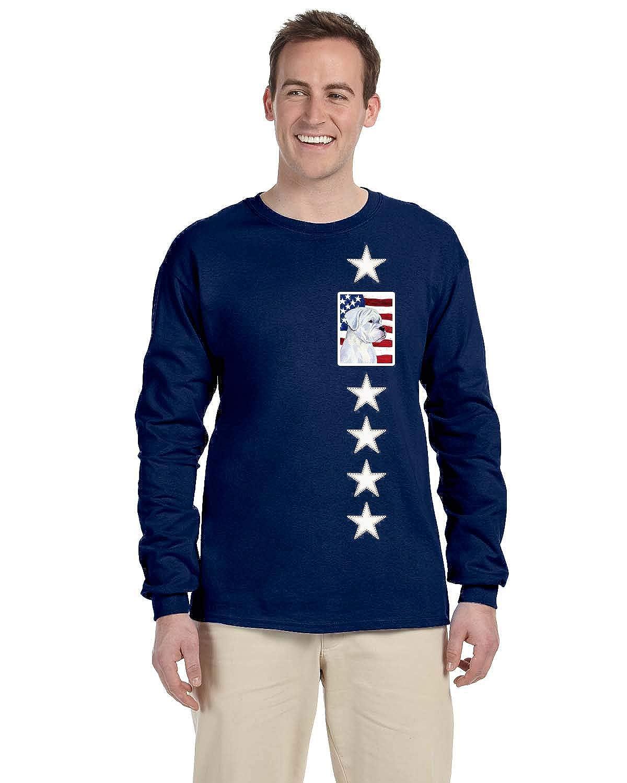 Carolines Treasures SS4036-LS-NAVY-M USA American Flag with Boxer Long Sleeve Blue Unisex Tshirt Adult Medium M Multicolor