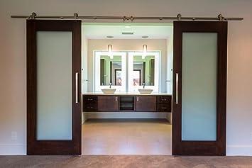 interior double door hardware. TP-SS02 # Satin Nickel Brushed Stainless Steel Sus304 Modern Barn Wood Sliding Door Hardware Interior Double