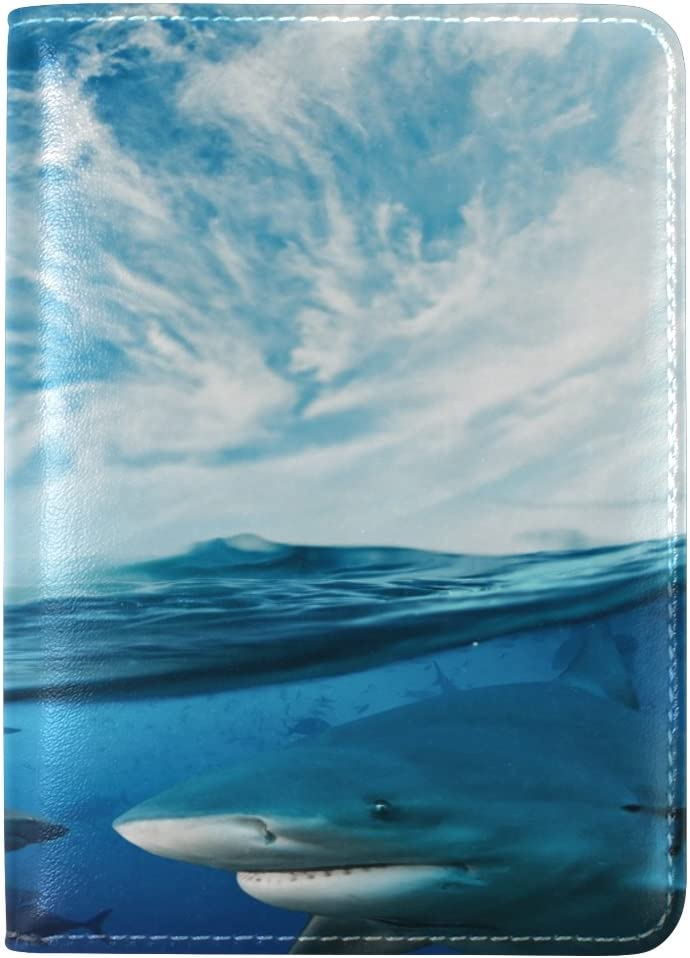 Shark Leather Boarding Pass Accessories Travel Passport Covers Holder Case Protector