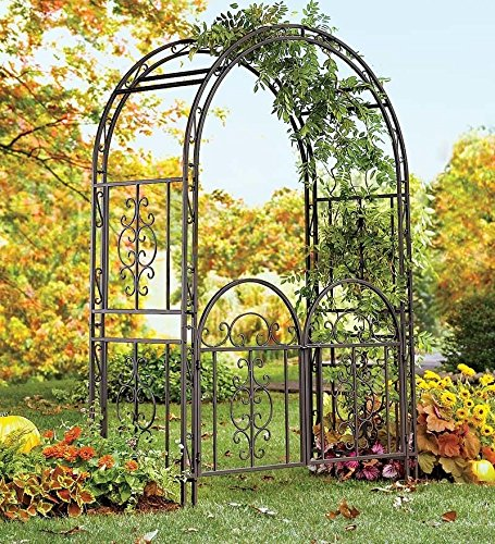 Garden Arbor Archway Dark Bronze Finished Iron Patio Arbor WITH Gate Elegant & Stylish Perfect for Weddings, Ceremonies, & Outdoor Venues Looks Great in Lawns, Yards, and Patios - Wrought Iron Garden Gate