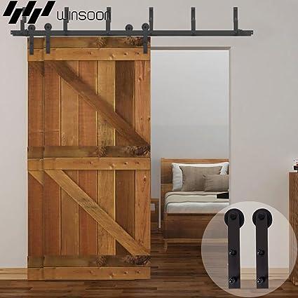 winsoon puerta armario decorativo recto soporte Metal interior granero puertas correderas de hardware pista rodillo para colgar doble puertas kit: Amazon.es: Bricolaje y herramientas