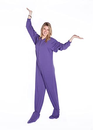 Big Feet Pjs Purple Jersey Knit Adult Footed Pajamas No Drop Seat (XS)