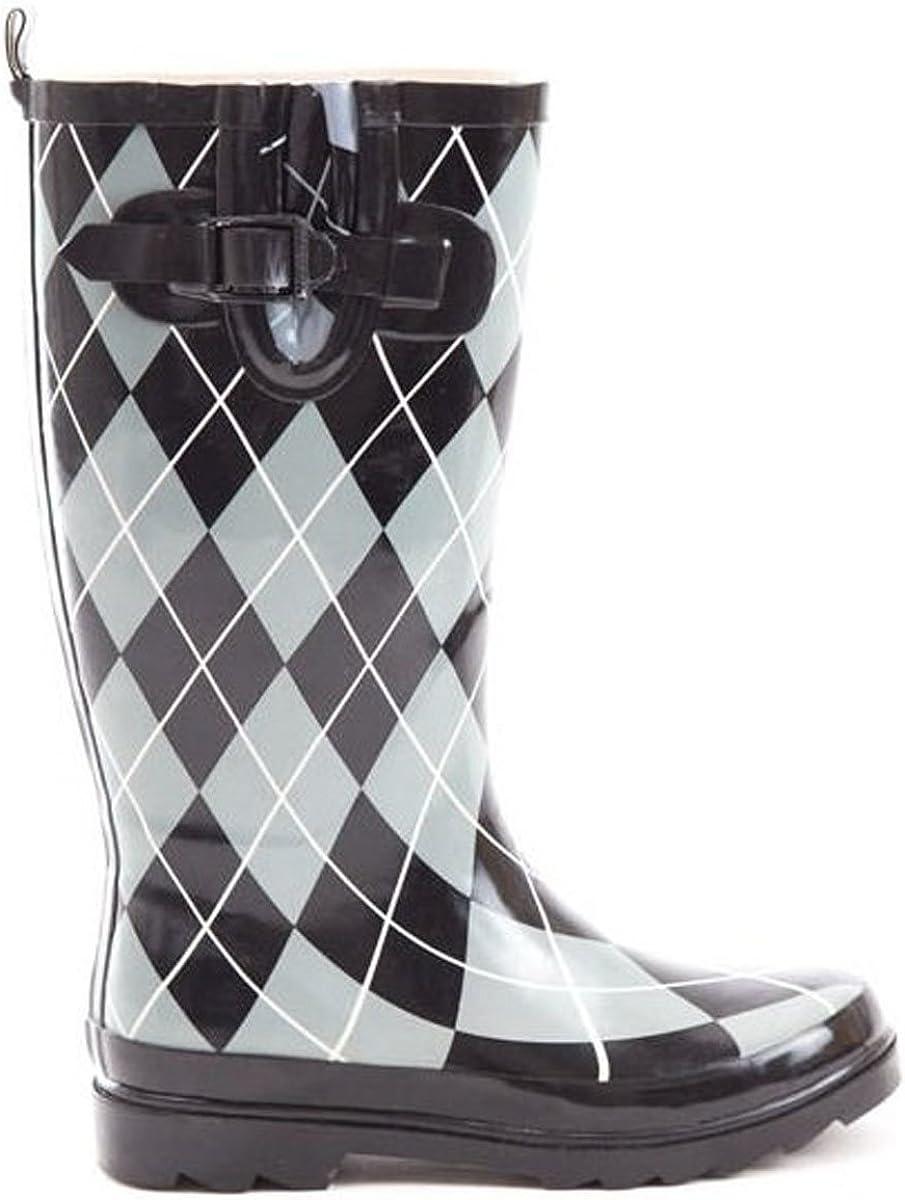 Soho Shoes Women's Rubber Knee High Argyle Wellington Waterproof Rain Boots