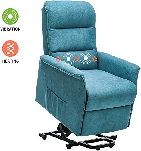 Power Lift Chair Recliner Massage Heated Reclining Sofa Chair for Elderly Home Living Room Furniture Single Lounger Seating Electric Fabric Upholstered Chair with Remote Control Blue
