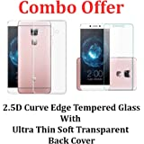 Febelo Combo Pack of 2.5D 0.33mm Pro HD Curve Edge Tempered glass Screen Protector + Perfect Fitting Soft Silicon Transparent Back Case Cover For LeEco Le Max 2 / Le Max 2 / Letv Le Max 2