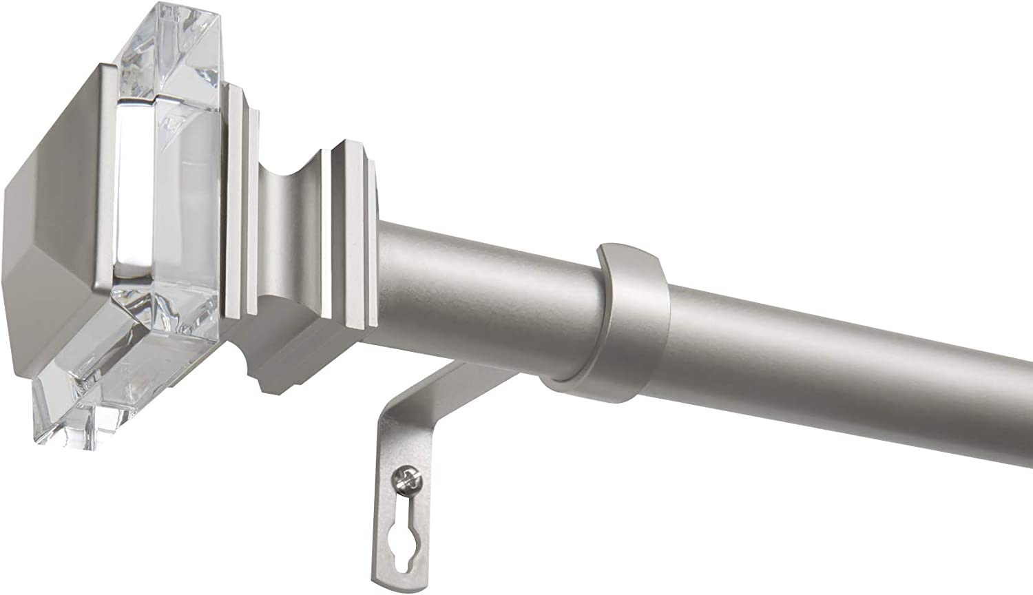 Matte Silver Exclusive Home Curtains Prism Curtain Rod and Finial Set 36-72