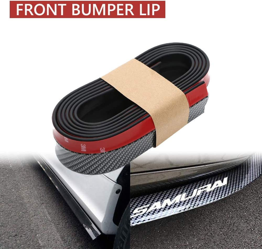Black Carbon Fiber Coolsheep 98inches//2.5M Universal Front Bumper Lip Spoiler Rubber Side Skirt Protector for Cars Auto Trucks SUV