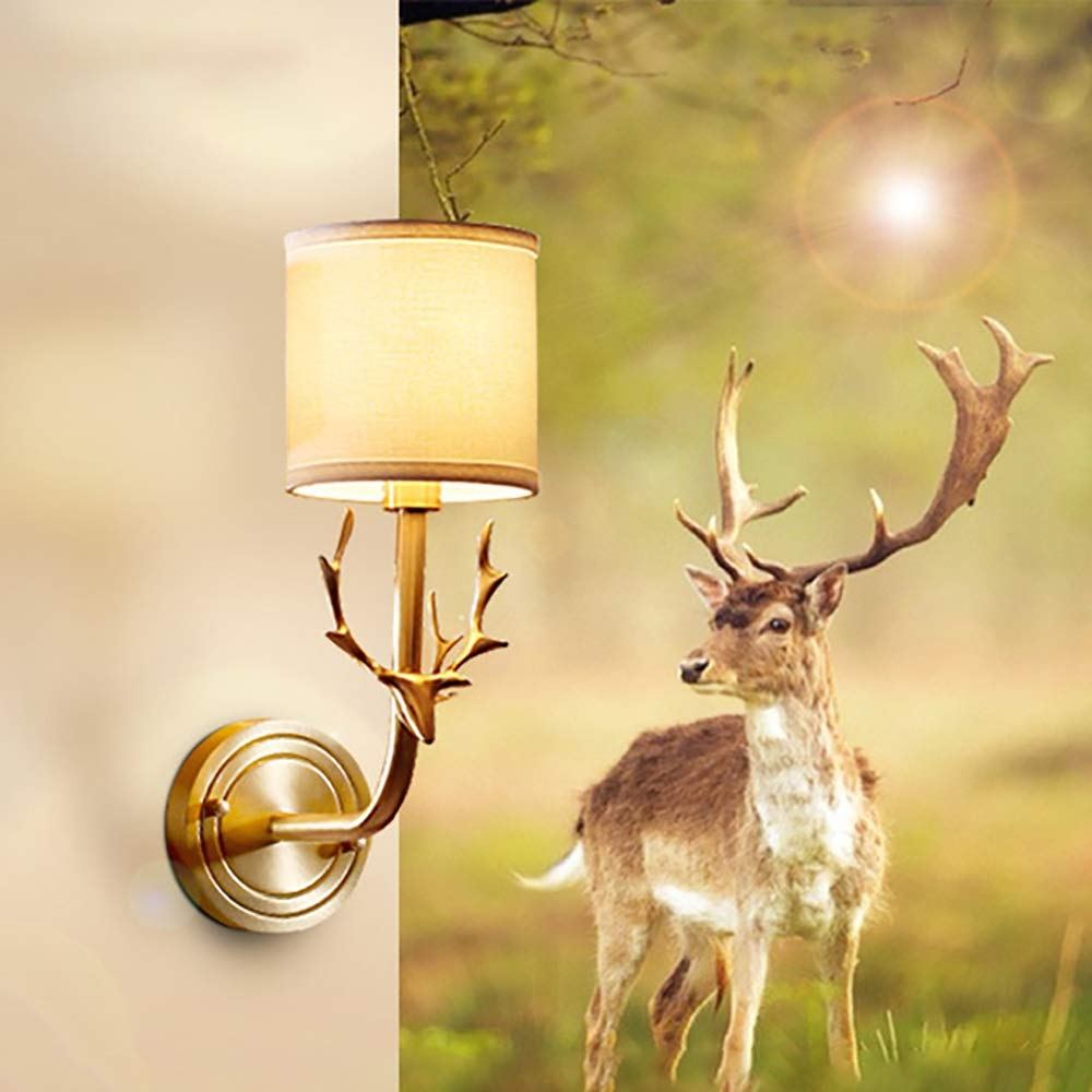 ZONA Elegent LED E14 Creative Copper Solid Deer Head Fabric Bedroom Bedside Study Wall Lamp/lamp Cozy by ZONA