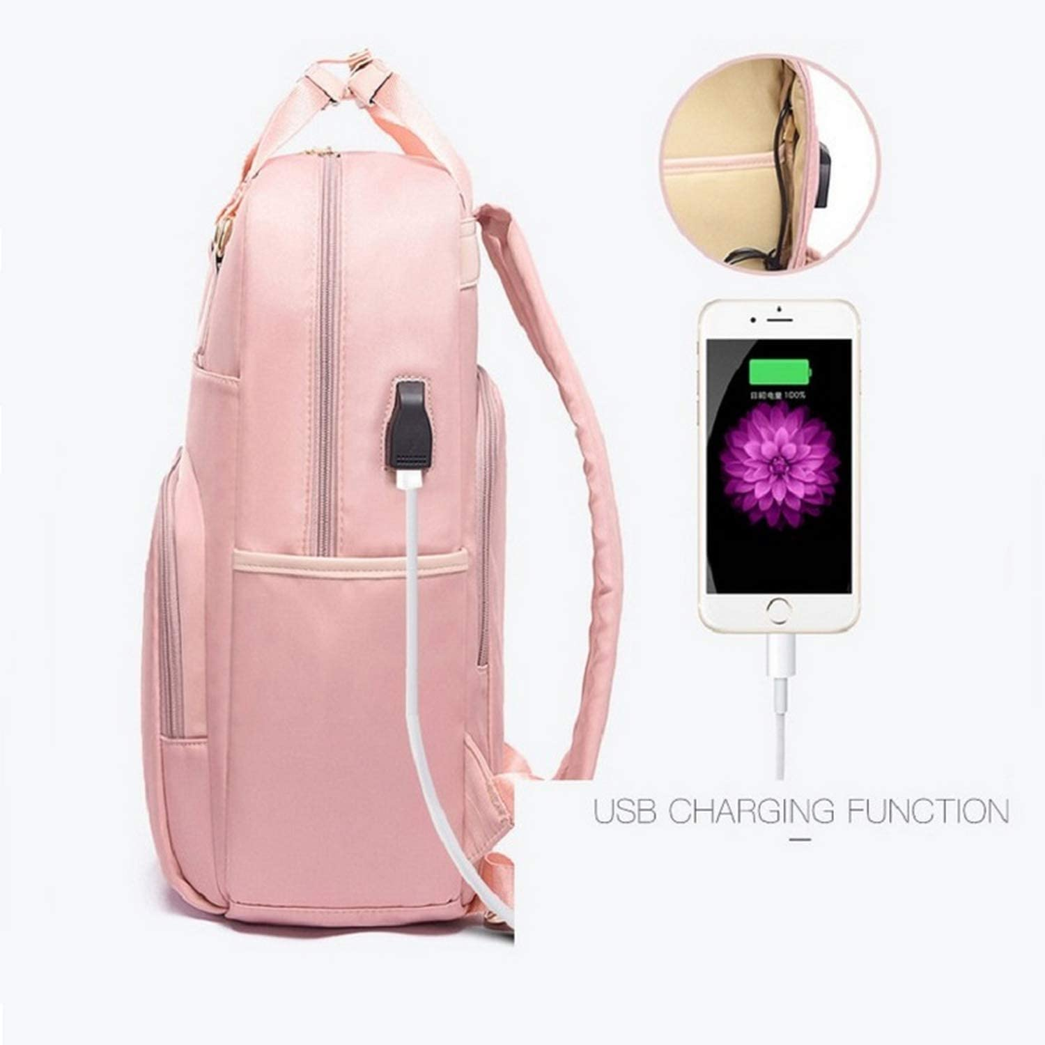 13 14 15.6 Inch Waterproof Laptop Backpack Female Fashion Girl 2019 USB Anti Theft Backpack Womens Backpack Large Multifunctional,Pink,15.6 inch