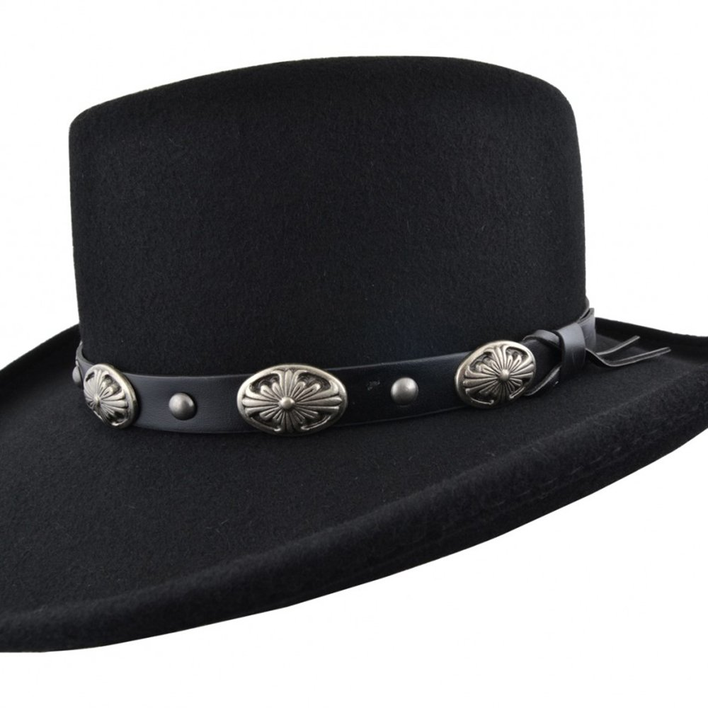 7aafd7c9 Maz Crushable Wool Felt Gambler Cowboy Hat with Buckle Band - Black at  Amazon Men's Clothing store: